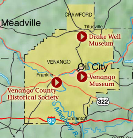Map Detail of Oil Heritage Park - Each arrow is a link to more information about the attraction.