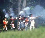 Photo of re-enactors at the Battle of Bushy Run