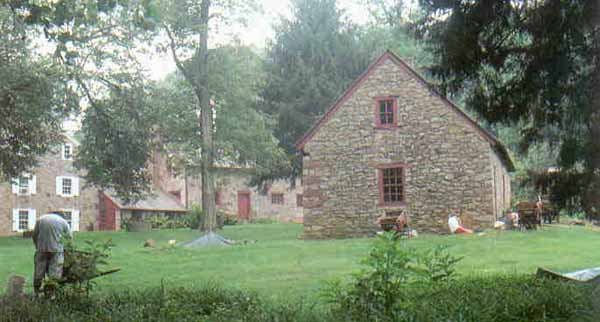 Buildings remaining from the Elizabeth Furnace iron plantation. The home of Baron Henry William Stiegel, the first ironmaster, is on the far left.