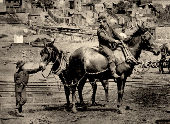 A rider sits atop a mule that has been harnessed with a large yoke. The yoke has steel chains attached, which extend to the side and back of the mule, attaching the first mule to the mule behind him in train fashion. A young boy stands next to the second mule and holds onto its rein. The iron works can be seen in the background.