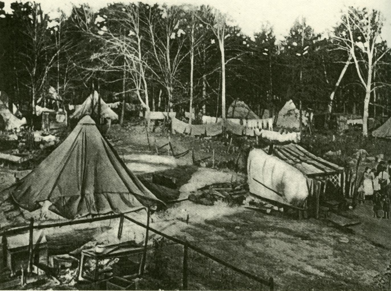 Image of tents makeshift kitchens and miners. & ExplorePAHistory.com - Image