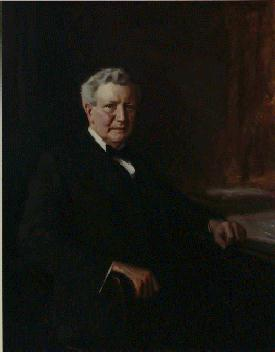 Official oil on canvas portrait of William Wilson seated, facing right, wearing a suit.