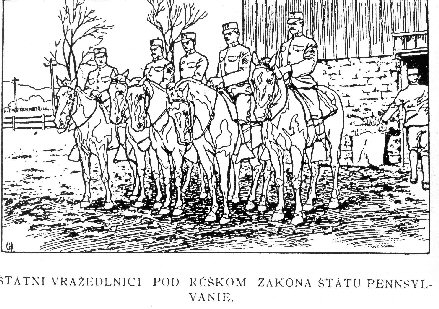 Drawing of five Mounted Police, posing just outside of the stable.