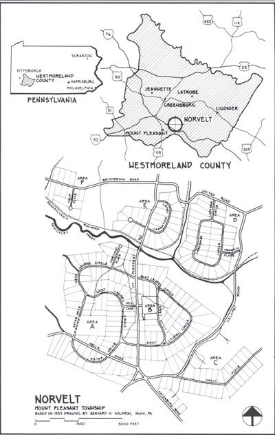 Black and white map outlining Norvelt.