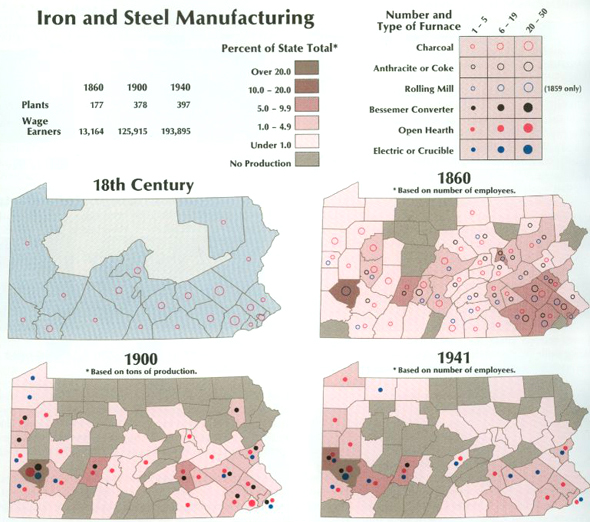 There are four Pennsylvania State Maps and two legends in this image.  The legend for these maps breaks down numbers and types of furnaces by using color coded circles: Charcoal, Anthracite or coke, Rolling Mill, Bessemer Converter, Open Hearth, and Electric or Crucible. In the left bottom section of this image are two maps. [18th Century, marking charcoal furnace production with hollow circles and 1900 based on tons of production. To the right are two color coded maps, 1860 and 1941, both based on number of employees.