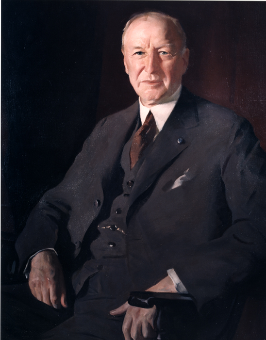 Oil on canvas of John S. Fisher, wearing a suit.