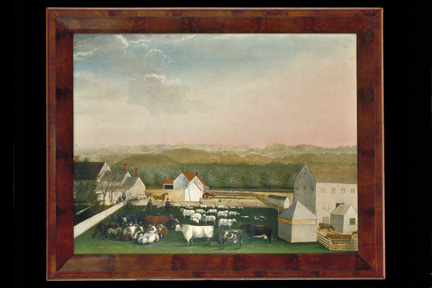 <i>The Leedom Farm</i>, by Edward Hicks. The view's vast luminous sky and orderly arrangement of livestock in the foreground seem to recapture the vision of harmonious life so important to Hicks and other Quakers.