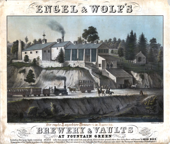Engel and Wolf's brewery and vaults at Fountain Green. Including five large vaults containing 50,352 cubic feet cut out of the solid rock and about 45 feet below ground, where they keep their well known lager beer