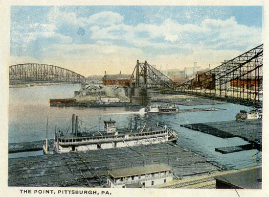 Color postcard of The Point Pittsburgh, Pa. at the confluence of the Allegheny and Monongahela rivers, forming the Ohio River.