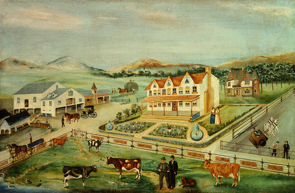 Beautiful painting of farmland scene with cows, farmers, fence, and carriages drawn by horses. There is a main, white, farm, house with a rust colored roof,a secondary house in back of the main house, and a white barn with a slate roof. Two women are standing in the main yard.