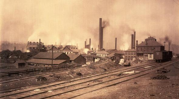 General view of the steel mill grounds.