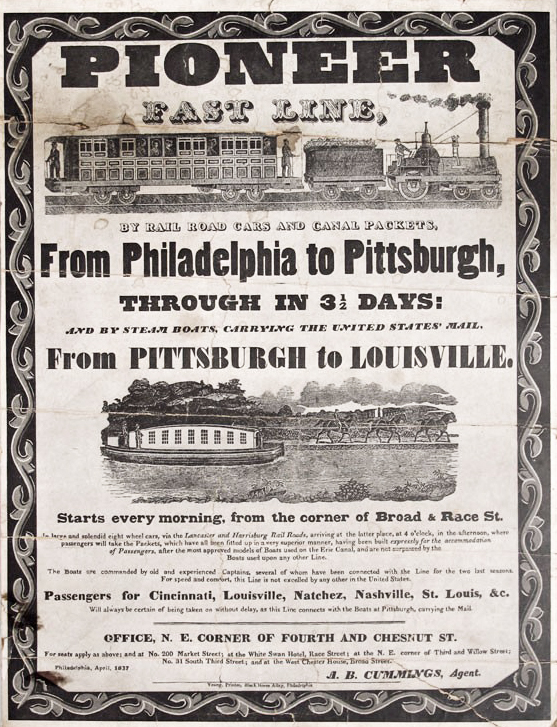 "A broadside advertising the ""Pioneer Fast Line,"" including an image of a steam engine pulling a passenger car, and a canal boat being pulled by three horses."