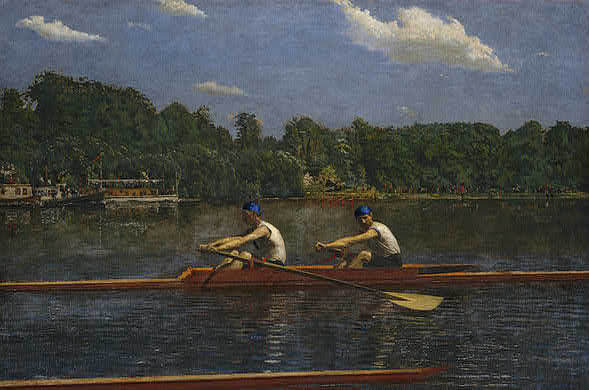 Oil on canvas painting depicting two boatmen, the Biglin brothers, racing their craft against another boat, along the bank of the Schuylkill River.   Only the edge of the competing boat is visible. The upper and distant half of the painting contains a four-man rowing crew, crowds on the shore, and spectators following in flagdecked steamboats.
