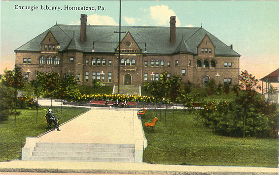 Color postcard of the front of the building, exterior.