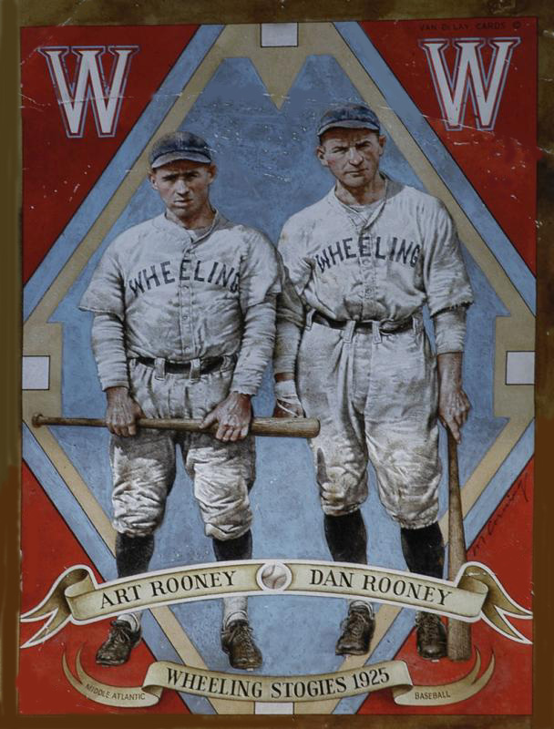 Two men wearing baseball uniforms for the Wheeling Stogies Wheeling, West  Virginia, and holding