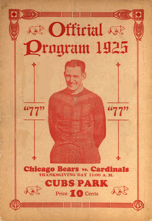 Program featuring Red Grange in uniform on the cover.