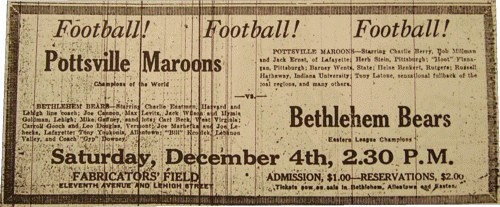 Advertisement for game between the Pottsville Maroons and Bethlehem Bears, December 1926.
