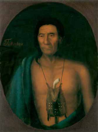 A bare-chested Indian chief with a pouch on a string around his neck. Protruding from the pouch is a tobacco pipe.