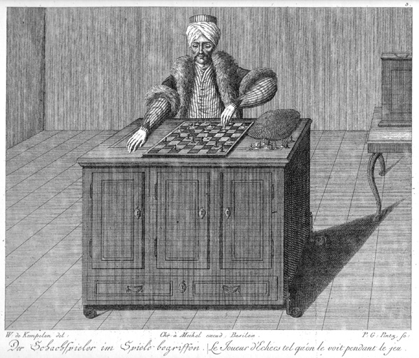 Image of a copper engraving of the Turk or Automaton Chess Player, a chess-playing machine of the late 18th century.