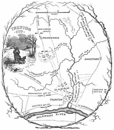 Historic etching of a map of the Trenton area showing the Delaware River.