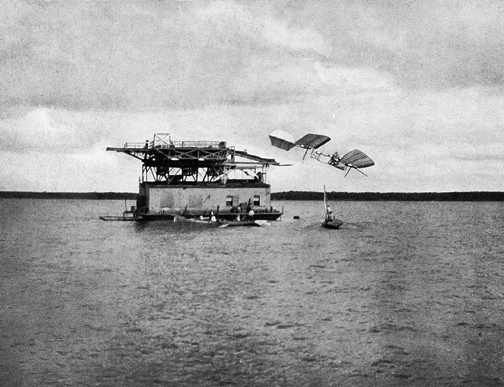 This image shows the   the aerodrome landing in the water.