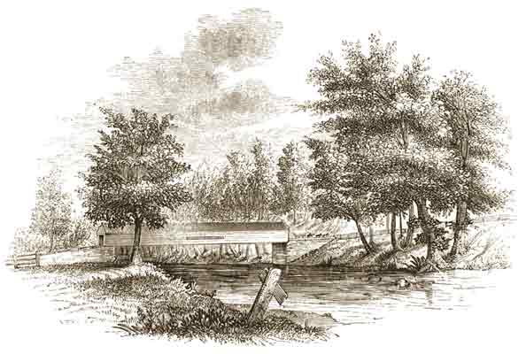 A black and white etching of Chadds Ford, a crossing point of the Brandywine Creek.