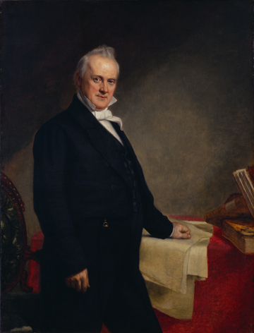 Oil on canvas depicting a formally dressed Buchanan standing next to a table, with his left hand resting on a map.