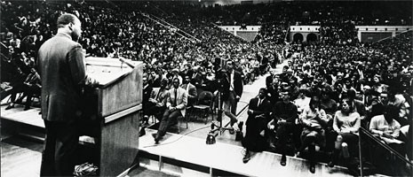 Martin Luther King, Jr. speaks to a crowd at Penn State University