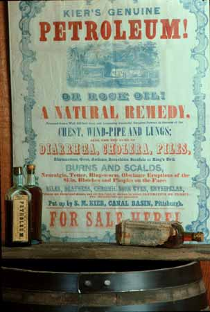 """A poster advertising """"rock oil"""" as a natural remedy for many illnesses."""