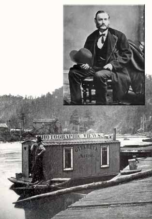 """An inset portrait photograph of John A. Mather, and a larger photo of a small boat with a makeshift shack. Signs are visible advertising """"photographic views"""" of the Oil Creek region."""