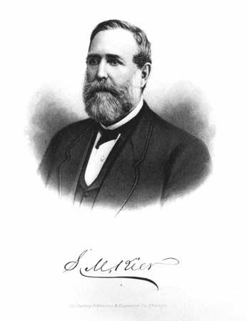 A head and shoulders portrait of Samuel Kier.