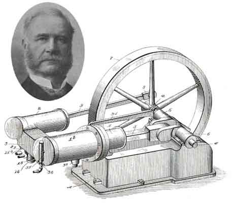 An inset portrait of Joseph Reid and a larger etching of his single piston engine.