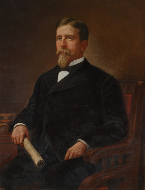 Oil on canvas of Hasting sitting in a chair, holding rolled parchment paper in his right hand.