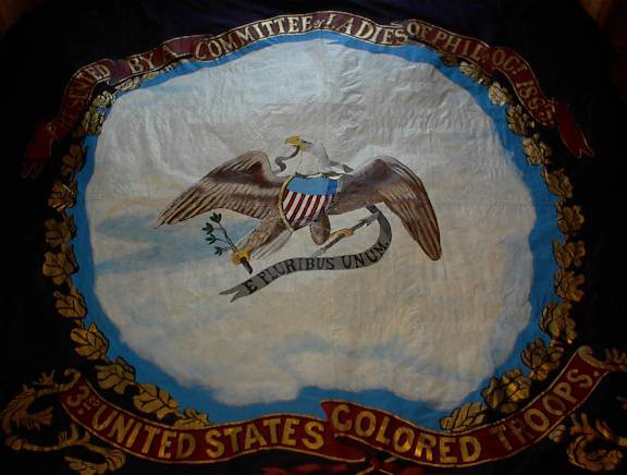 Color image of Civil War Flag depicting an Eagle holding an olive branch.