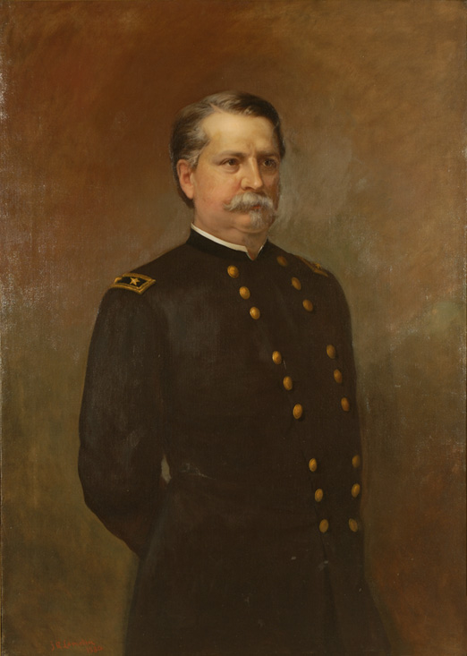 Oil on canvas of a man in uniform, three quarter length portrait.