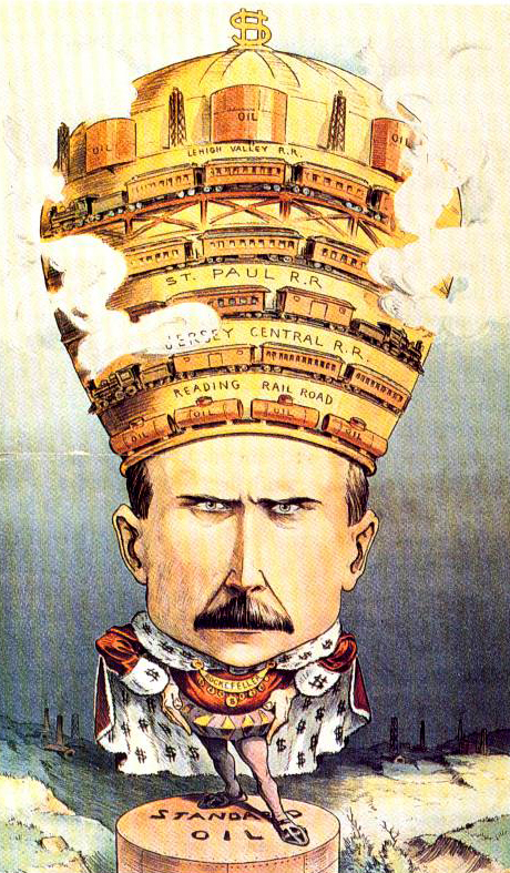 John D. Rockefeller as a king presiding over a landscape that he has devastated. On his crown are the tools of his empire. Four railroads, including the Reading RR and Lehigh Valley RR., encircle his crown, which is topped by oil derricks and holding tanks.