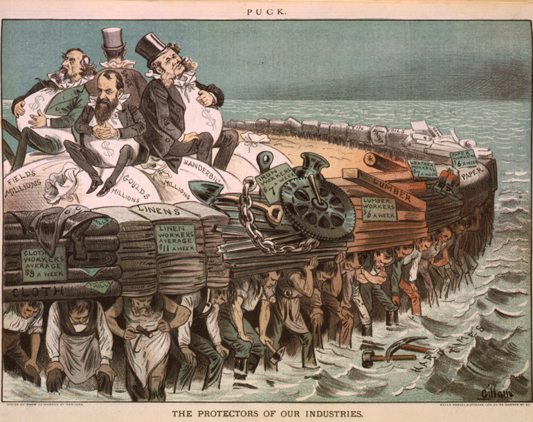 com image cartoon showing cyrus field jay gould cornelius vanderbilt and russell sage seated