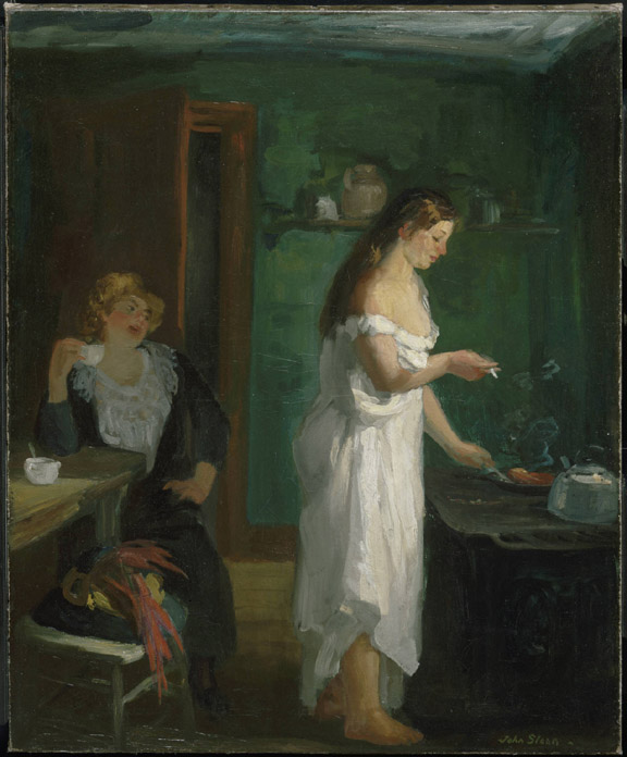 A rooming house scene with two female figures, the color red vs. green.