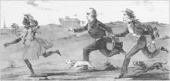 In this 1857 lithograph, president James Buchanan appears as a flunky of slave owners, helping a bounty hunter chase a runaway slave.