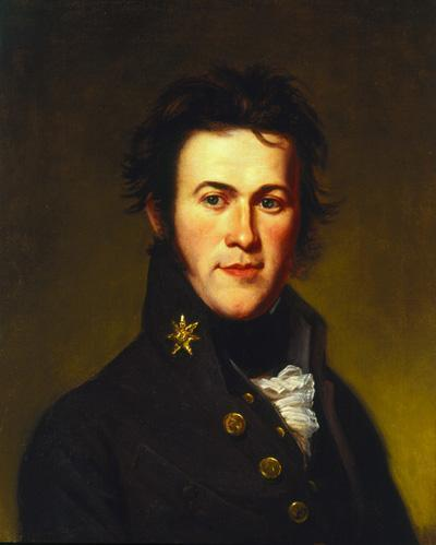 Oil on canvas, head and shoulders of a man in a uniform