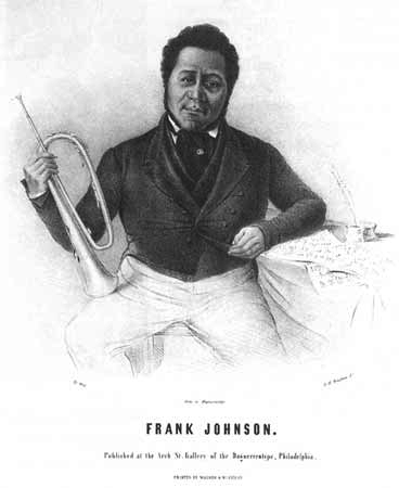 """An etching of Francis """"Frank"""" Johnson in formal dress, holding a trumpet."""