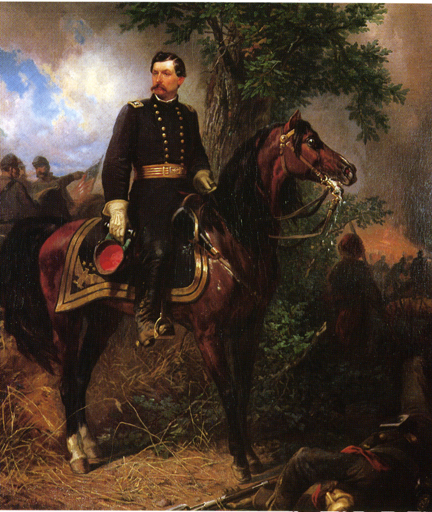 Oil on canvas painting of McClellan on horseback.