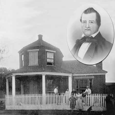 A brick building with a picket fence and several people standing in front. Inset is a head and shoulders etching of William Searight.