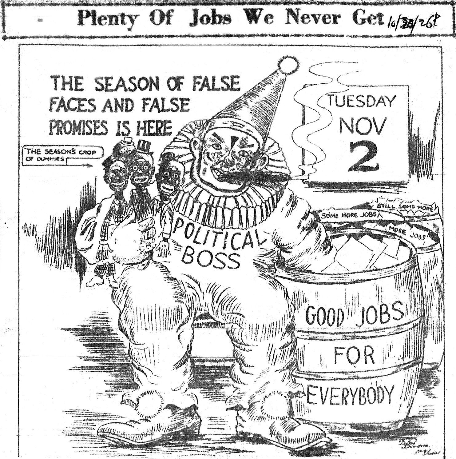 editorial cartoon from 1920s topsimages 1920s Newspaper Cars a clown with political boss across the front of his costume smoking a cigar 1483x1492