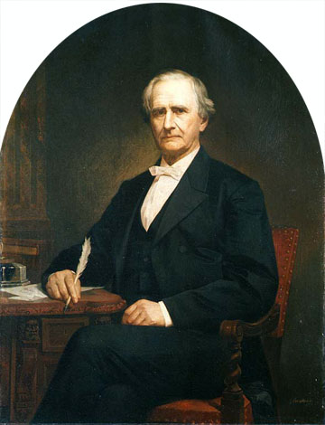 Oil on canvas painting of Simon Cameron, dressed in a dark suit is seated a desk and is holding a quill pen.