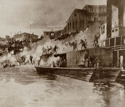 Image of men attacking barges.