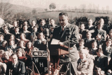 Dr. Ralph J. Bunche addressing the public, Aaronsburg