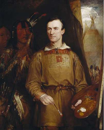 A portrait of George Catlin, in frontier attire, with paint brush and palette in hand. His painting of <i> The Woman Who Strikes Many</i>, can be seen behind him.