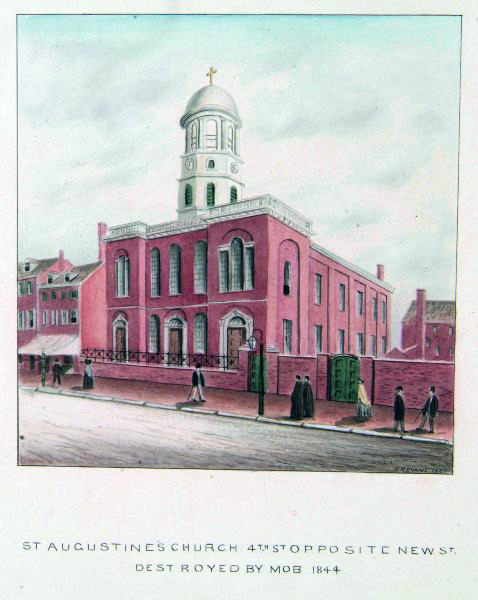 """View of front of church with people on sidewalk. Caption: """"St. Augustine's Church, 4th St. opposite New St. Destroyed by mob in 1844."""""""