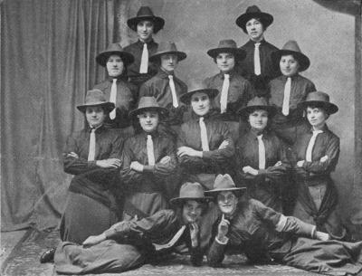 TOP ROW (standing), left to right, Konstancia Figlerowicz, Wiktoria Zagata; SECOND ROW FORWARD (standing), left to right, Wanda Czerniak, Zofia Zagata, Marya Mielcarek, Marta Stenclik; THIRD ROW FORWARD (seated), left to right, Marya Dylewska, Anna Czaban, Marta Chudziska, Anna Sykut, Marya Zajaczek; FOREGROUND, left to right, Marya Sokolska, Stanislawa Dukowska, Instructures.
